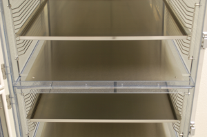 Stainless steel shields and shelves in a Static Dissipative PVC desiccator cabinet
